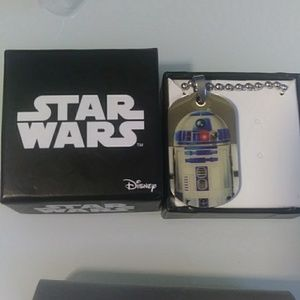 R2D2 Star Wars stainless steel pendant 16 chain